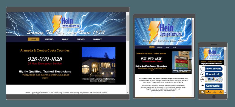 Hein Lighting & Electric Website Design Examples