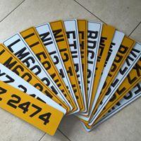 printed vehicle number plates
