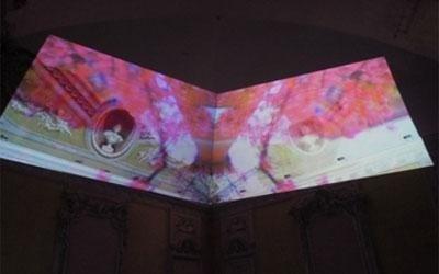 videoproiezione su schermo al museo