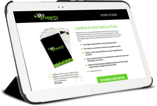 landing page design - GKS Property Lowestoft