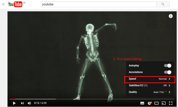 choose the youtube video speed option