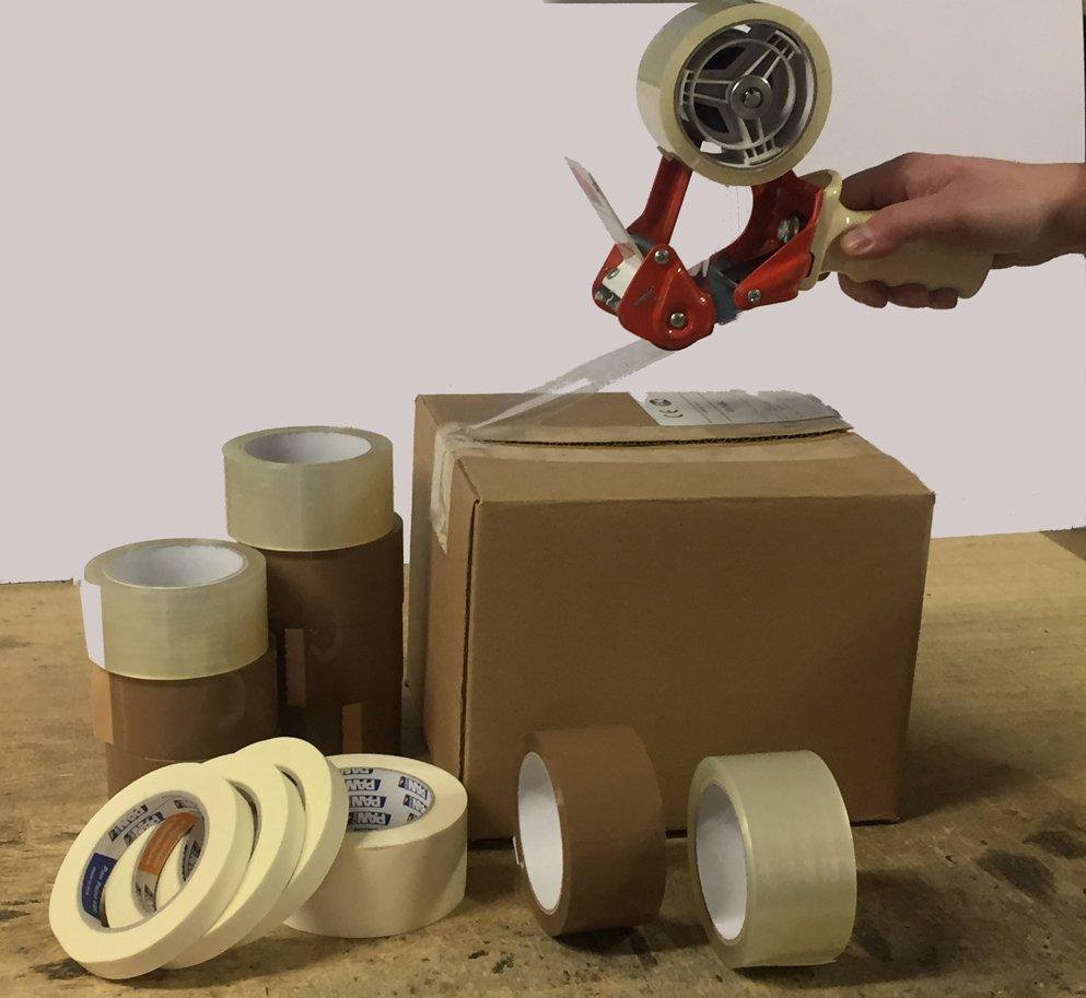 Scatola con diverse tipologie di scotch adesivo
