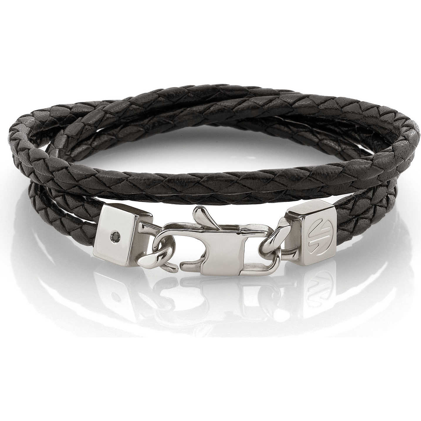 braccialetto sportivo in cuoio e argento
