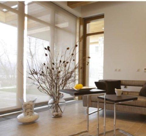 vista interna di una casa con divano, tavoli, vasi e porte interni