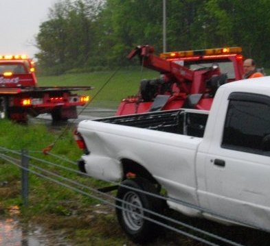 Our tow truck recovering a car
