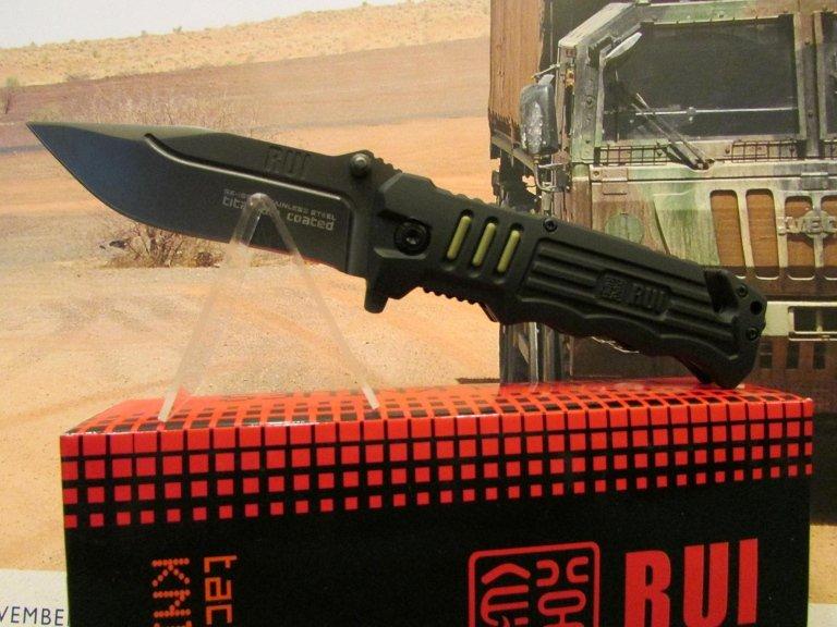 C-RU coltello nero lama liscia taghlia cinghie frangiac vetro