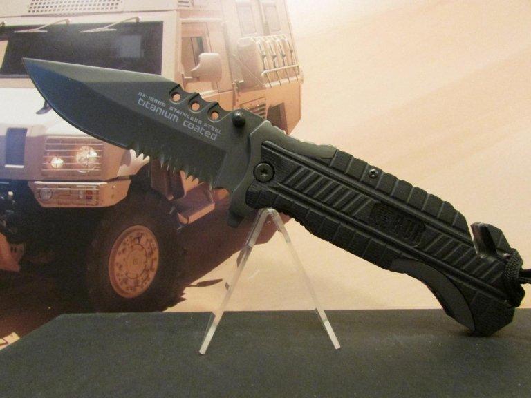 C-RU coltello rui nero lama combinata taglia cinghia frangi vetro