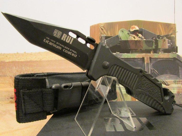 C-RU coltello Rui tactical nero taglia cinta frangivetro con fodero