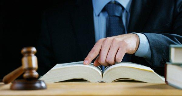 avvocato in studio legale mentre legge libro giudice