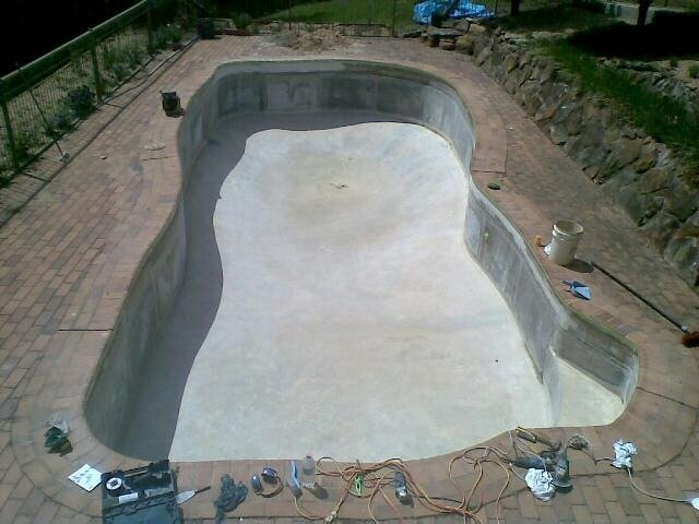 Aerial view of the discoloured pool