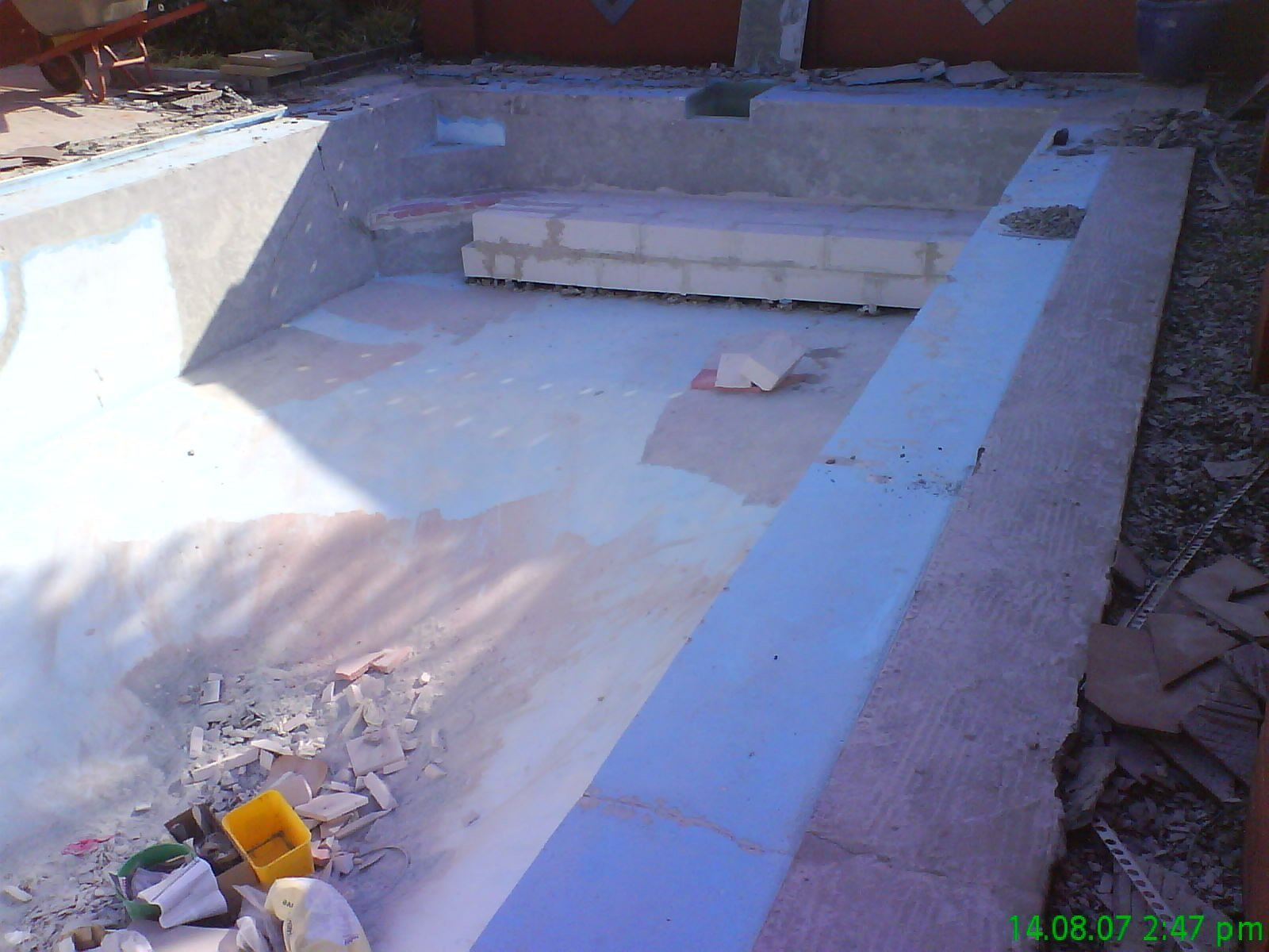 Restoration work in progress on pool