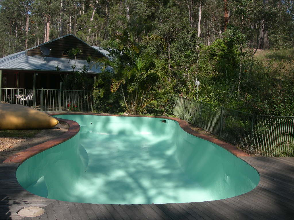 View of finished restoration work on fibreglass pool