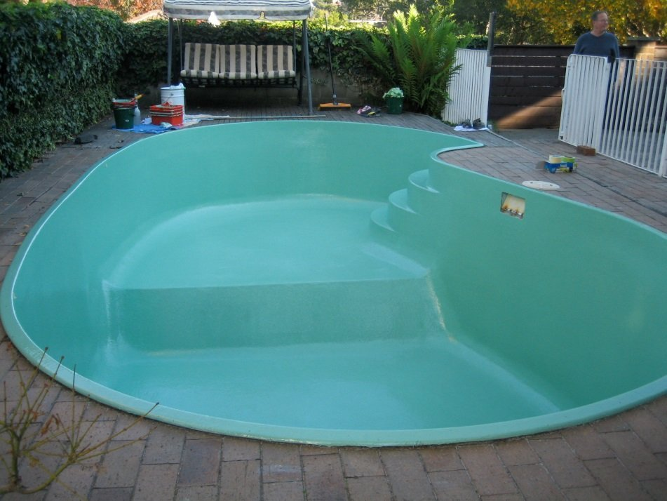 Completed work on pool resurfacing Kakadu green colour pool