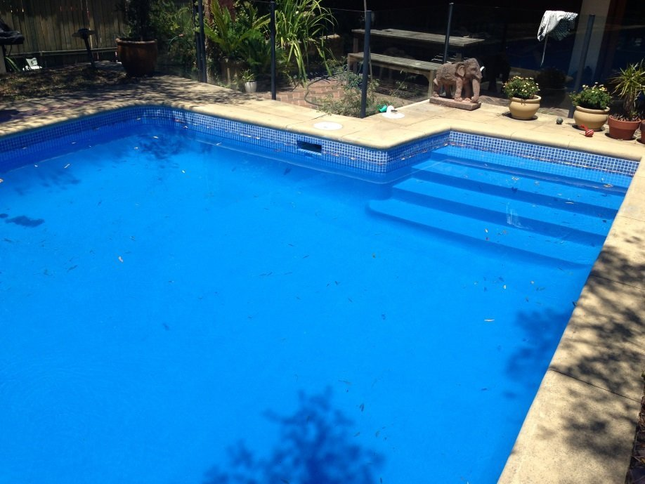 Completed work on pool resurfacing Night blue colour pool