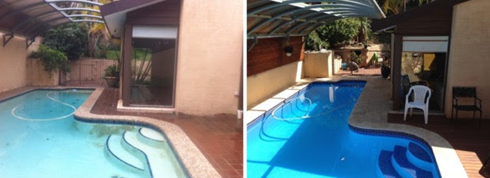Before and after view of the renovated pool