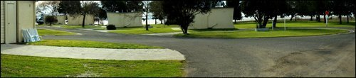 View of the asphalt driveway at Lake Colac Holiday