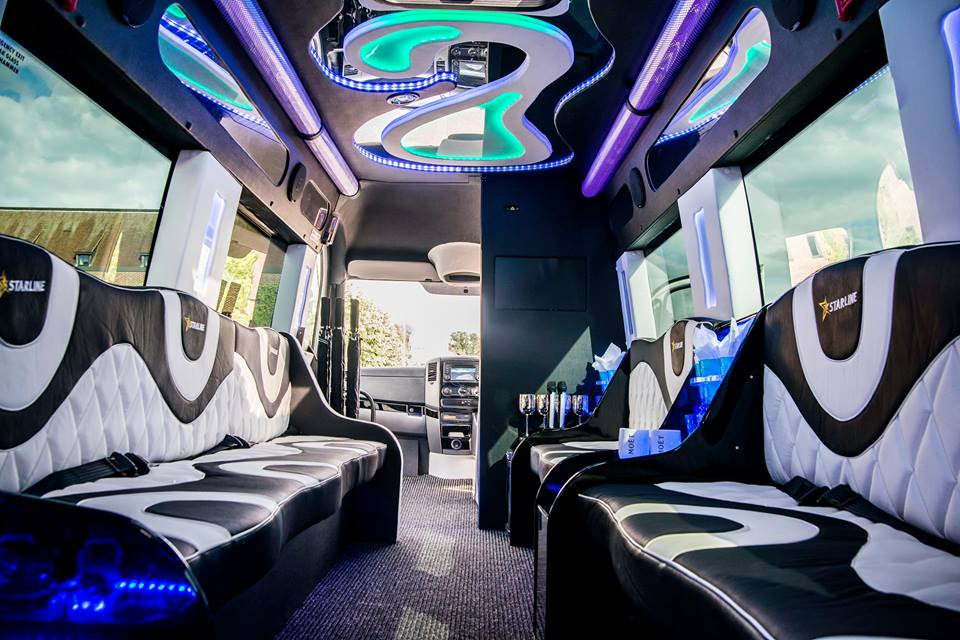 stylish party limo bus