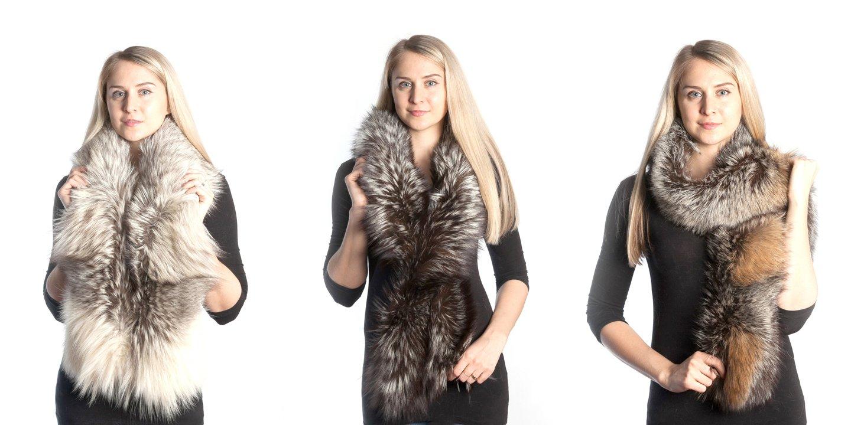modella con indosso tre diverse pellicce