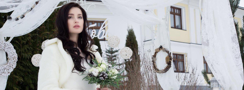 modella con pelliccia per matrimonio