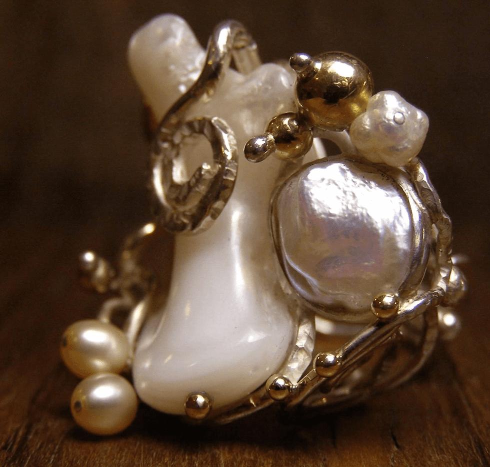 Anello argento oro madreperla