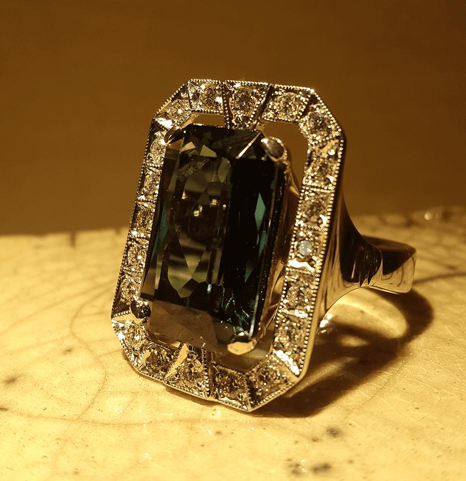 anello oro bianco verde