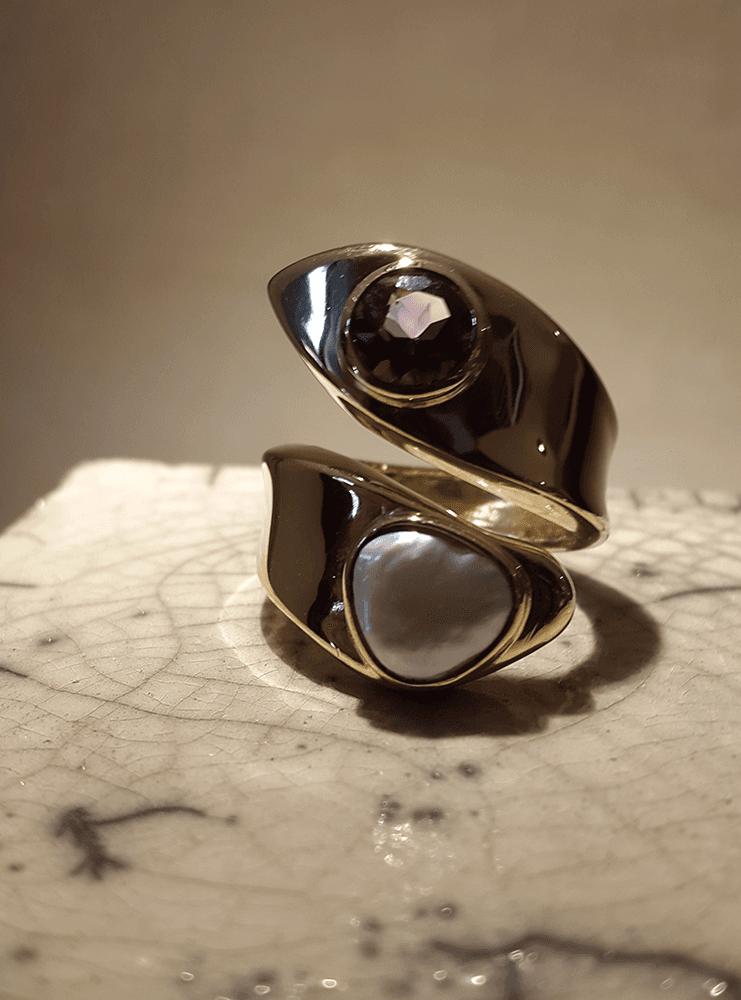 anello ametista perla