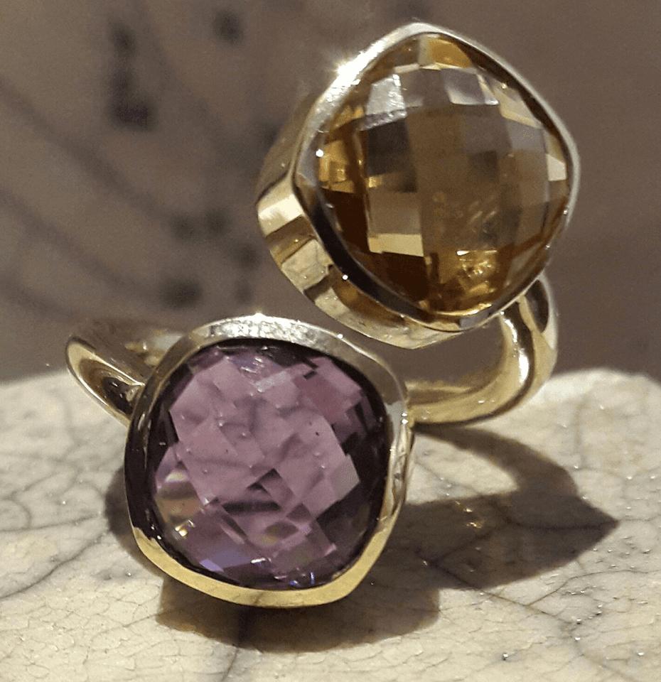 anello oro ametista e quarzo citrino