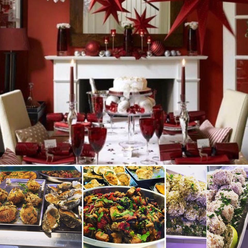 collage di 3 foto con una tavola apparecchiata in tema natalizio di color rosso e bianco e sotto delle specialità a base di pesce e dei molluschi gratinati