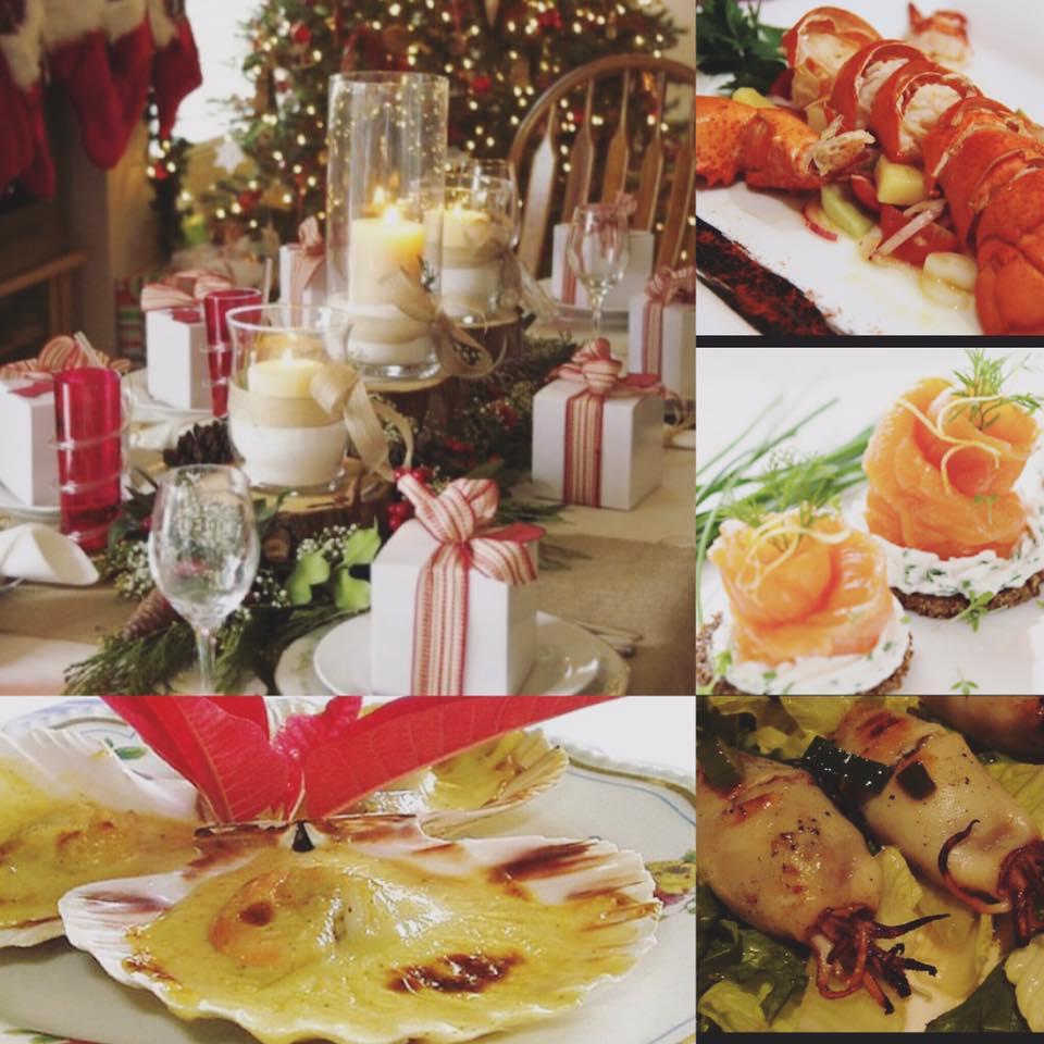 collage di 4 foto che raffigurano una tavola apparecchiata in tema natalizio con candele e pacchetti regalo e delle specialità di pesce