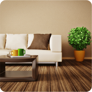 A living room with laminate flooring