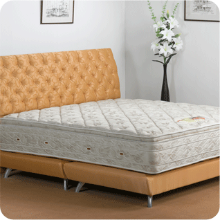A bed frame with padded headboard