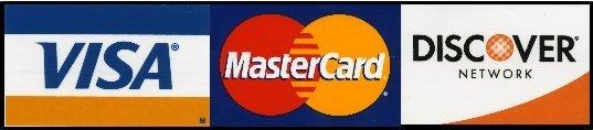 VISA, MasterCard, Discover credit card logos