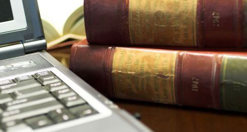 Laptop and law books for an attorney in Sweet Home, OR