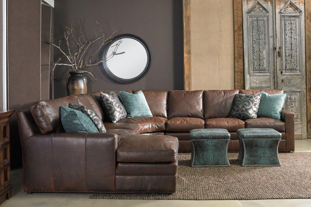 brown couch with ottoman pieces
