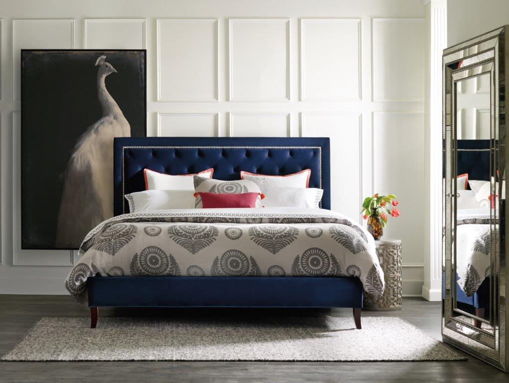blue headboard bed set