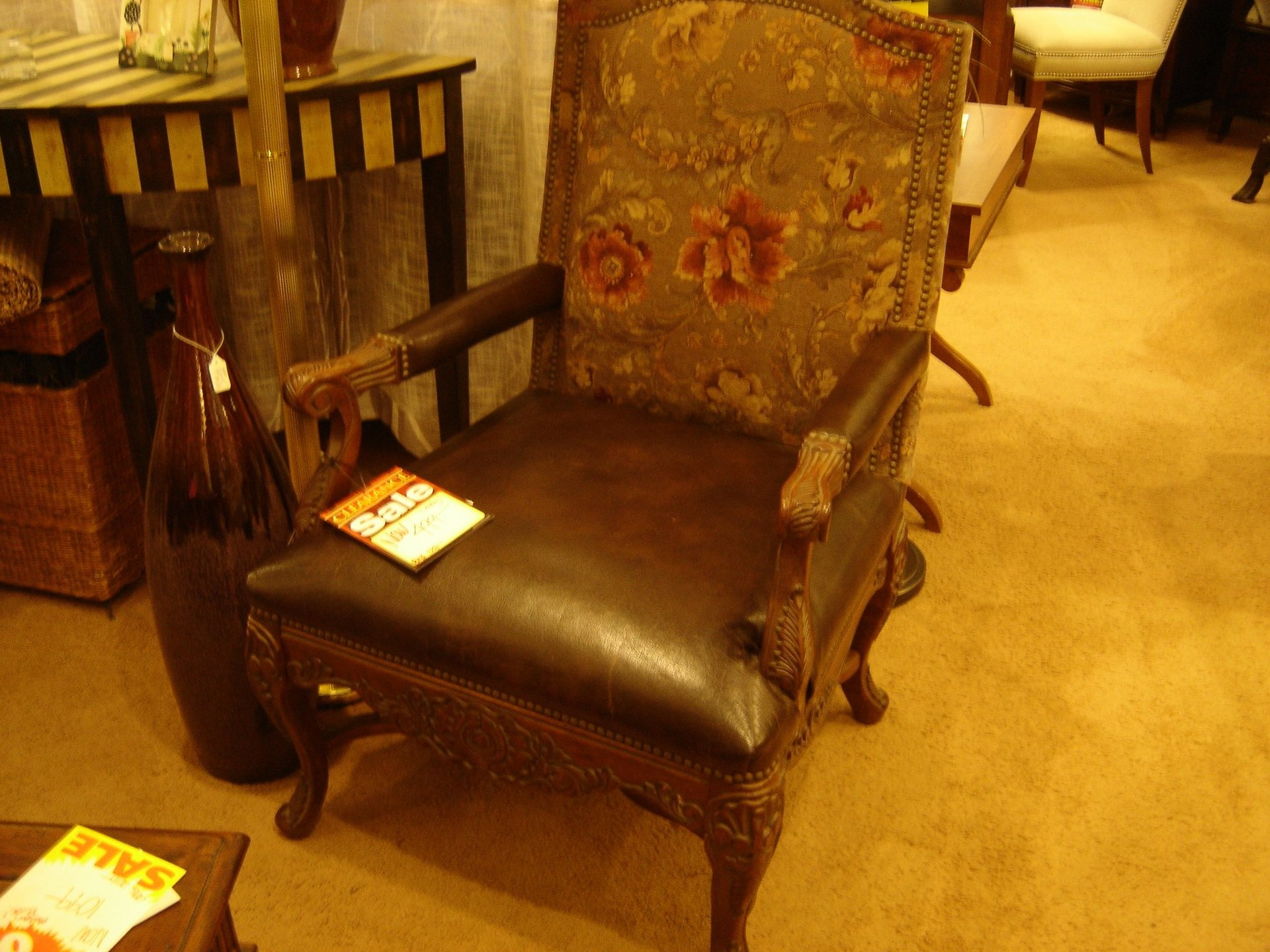 Carved Arm Chair with Leather Seat and Tapestry Back Panel