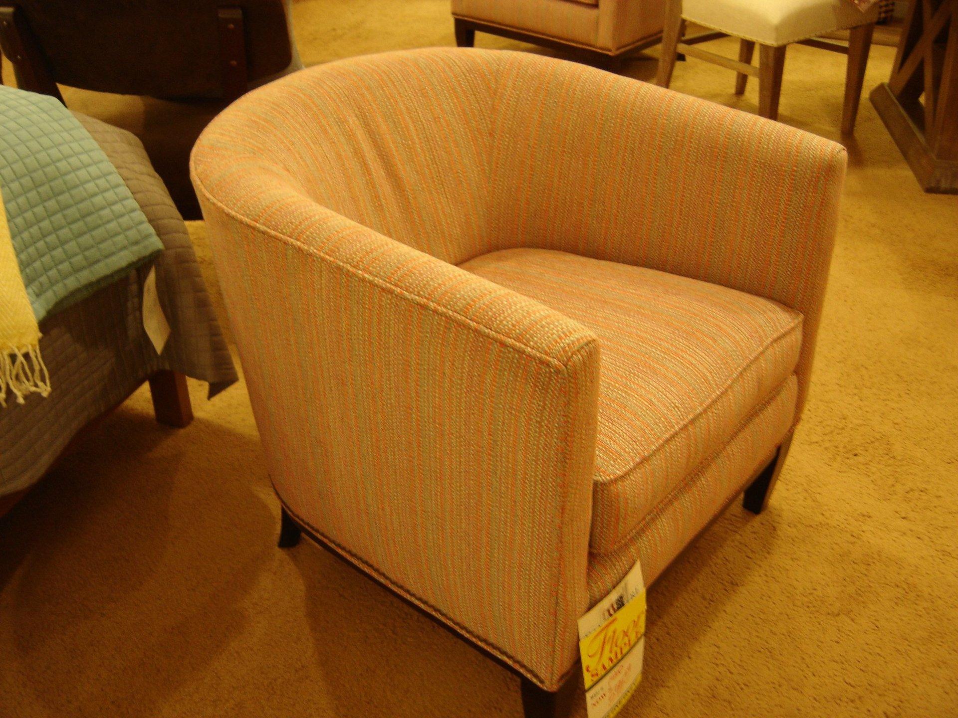 Modern Barrel Chair in Multi Tweed