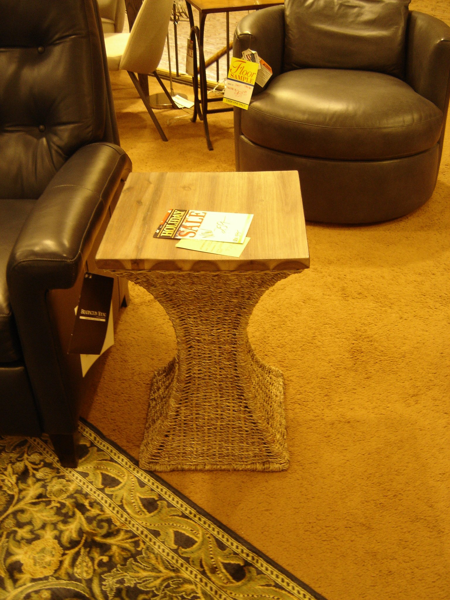 Cool Accent Table of Accacia (top) and Wicker (base)