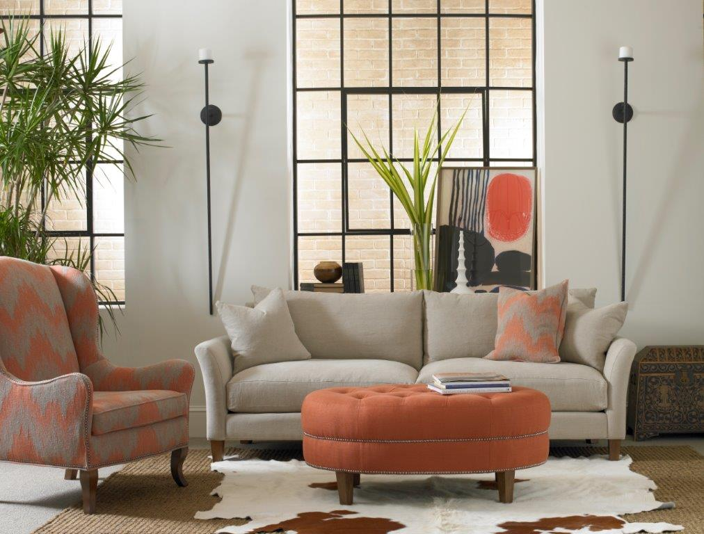 Orange ottoman and couch set