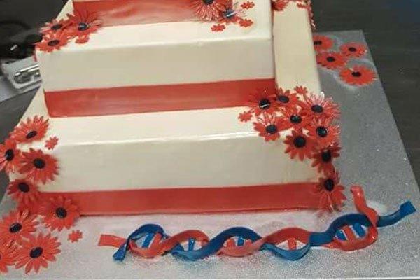 una torta a due piani di color bianco e rosso con dei fiori