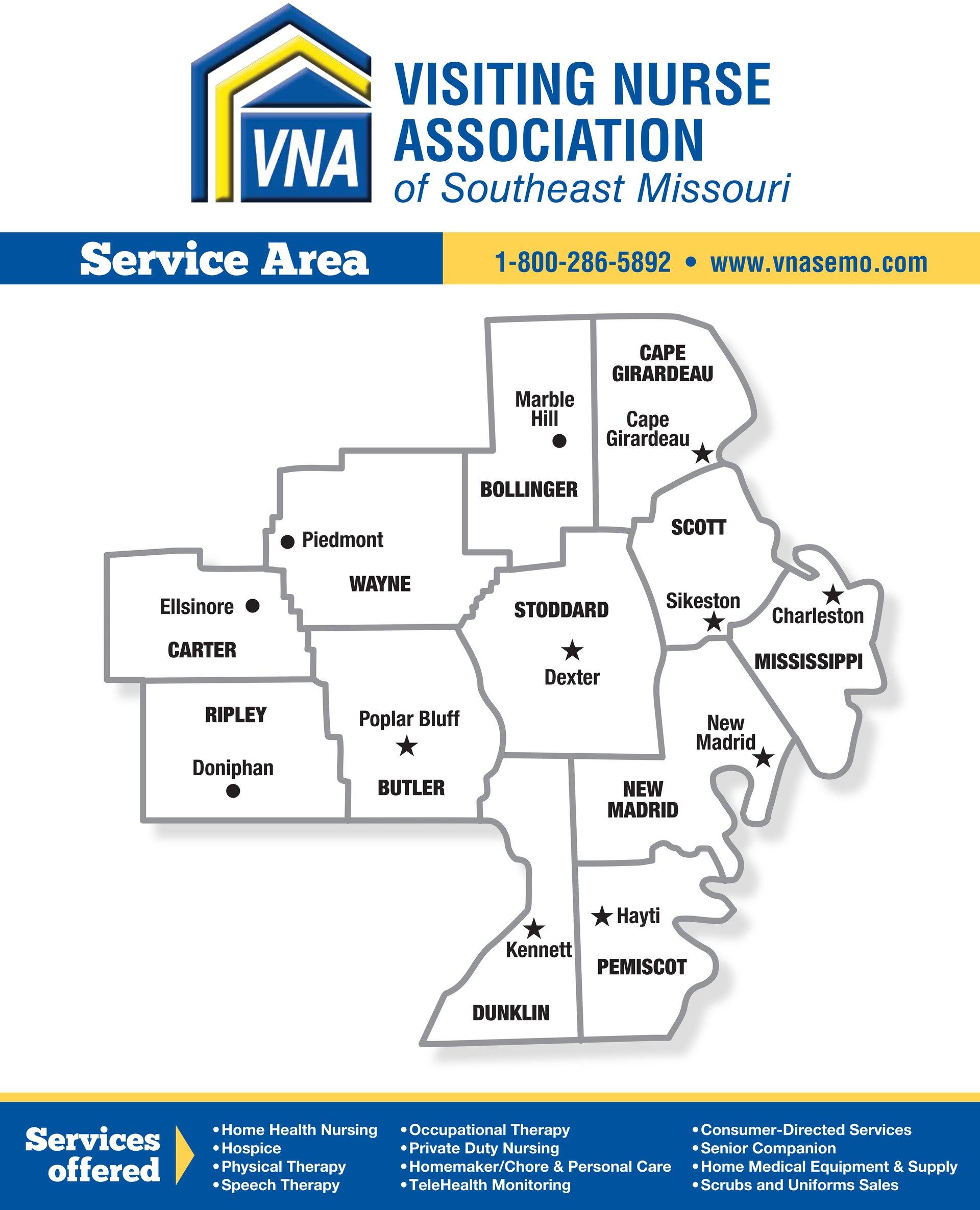 VNA SEMO areas of service