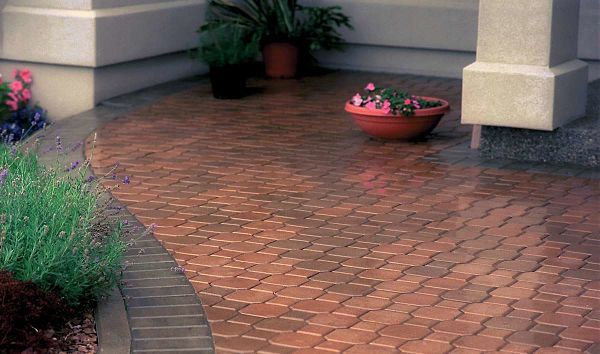 Outdoor living space created with beautiful interlocking pavers.