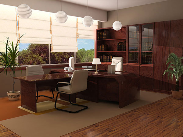 modern office with laminate floors