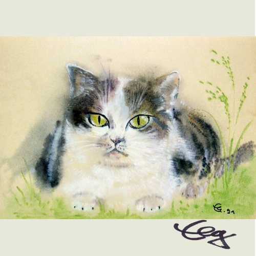 Bild Aquarell Katze grün Auge Ernicke