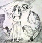 Bild, Orient, Tanz, Bleistift, Skizze, Bewegung, Leidenschaft