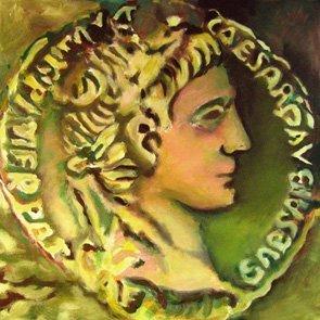 Bild, Acryl, Leinwand, Augustus, Münze