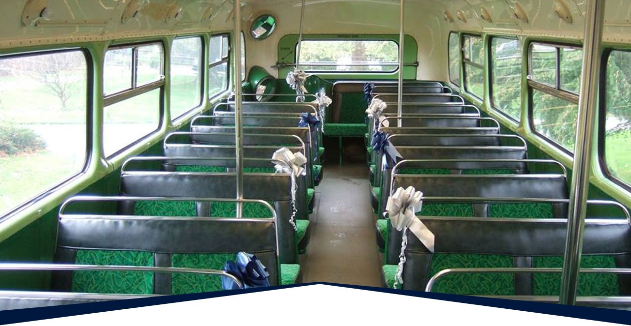 A bus decorated for wedding transport