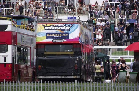 Double decker bus at an event