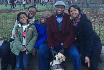 Family with Beagle Chihuahua mixed dog