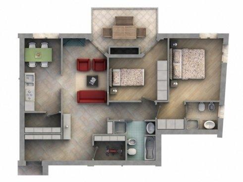 Appartamento con due camere da letto, due bagni, sala, cucina, ripostigli e balcone